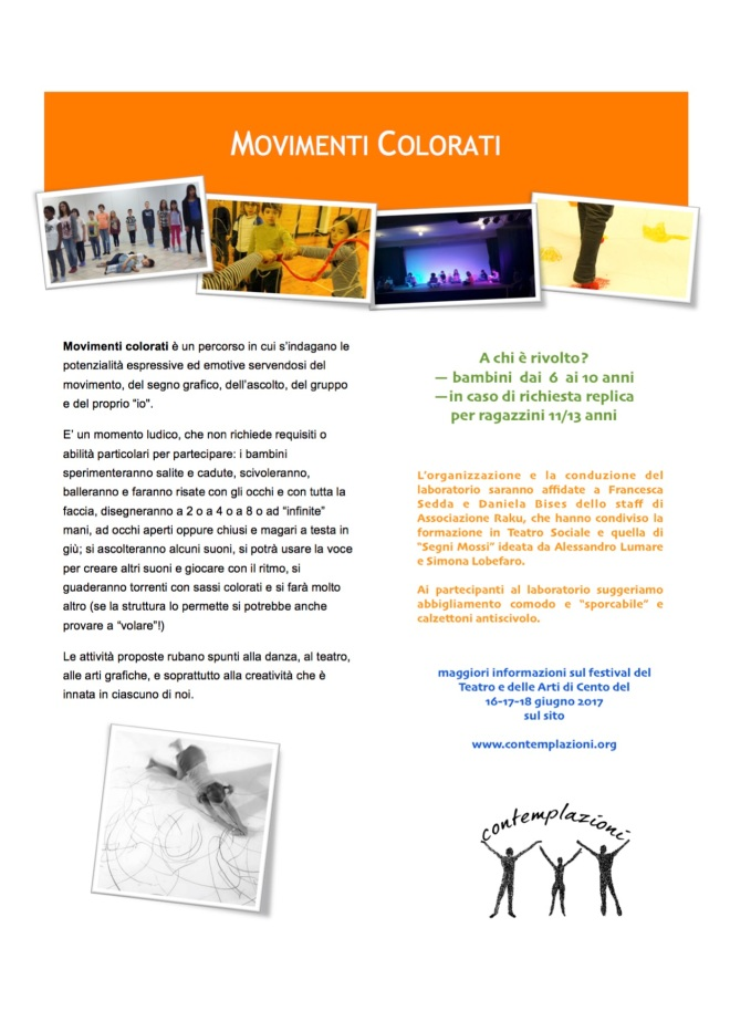 """Laboratorio """"Movimenti Colorati"""" proposto da Daniela Bises e Francesca Sedda - 18.06.2017 @contemplazioni a Cento"""
